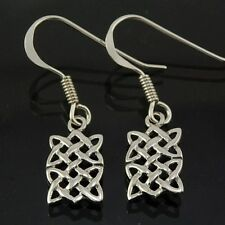 Handcrafted Sterling Silver 925 Small Rectangle Celtic Knot Silver Earrings