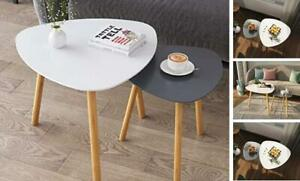 Bamboo Nesting Triangle End Table,Set of 2 Coffee Table Modern Minimalist Grey