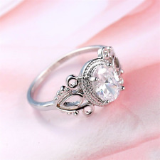 Ring size S 9ct White Gold GF Diamond Cluster Silver Antique Gift Wedding