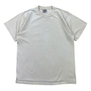 Vintage 80s Carhartt Plain White Blank T Shirt Mens Size Large Single Stitch