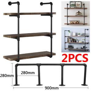 2Pcs 3 Tiers Industrial Floating Iron Pipe Shelf Retro DIY Wall Mounted Bracket