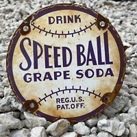 VINTAGE SPEED BALL GRAPE SODA PORCELAIN METAL SIGN GAS OIL US POP DRINK BASEBALL