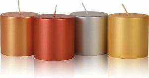 Metallic Pillar Candles Unscented  Candles Multi Color  Set of 4
