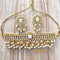 Indian Bollywood White GoldTone Wedding Necklace Earring Kundan Jewelry Set