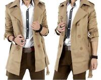 Mens Belt Slim Double breasted trench coat Jacket outdoor Long parka Overcoats