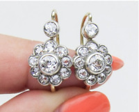 14K Gold Over Vintage Victorian Art Deco Floral 3.21Ctw Diamond Halo Earrings