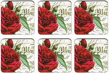 Botanical Red Roses Set of 6 Cork Backed Drink Coasters New