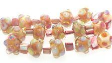 OliveStuart Handmade Lampwork Beads 16 rose pink silvered glass round