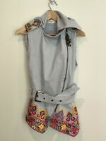 CAMILLA FRANKS Vest Jacket Denim Blue Beaded Sequin Pink Green Yellow Red Black