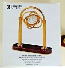New Howard Miller Rosewood Gimbal mantle shelf desk clock USA solid brass wood