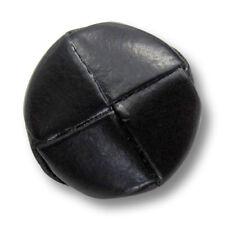 5 schwarz glänzende Lederknöpfe mit Metall-Öse in klassischer Form (5812sc-19)