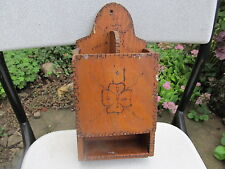 VINTAGE OLD HAND CARVED WOODEN WALL HANGING KITCHEN BOX