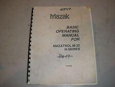 Mazak Cnc Mill Operating Manual Mazatrol M-32 H-Series