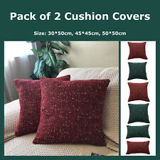 Pack of 2 Chenille Christmas Woven Cushion Covers New Year Throw Pillow Cases