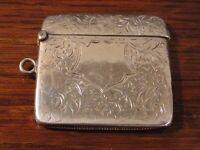 Edwardian Silver Vesta 1905 Match Case Holder Keep safe Pendant Miller Bros