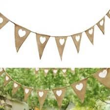 Rustic Jute Hessian Burlap Xmas Party Bunting Shabby Chic Wedding Banner 02
