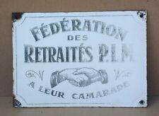 Ancienne plaque émaillée bombée P.L.M SNCF Paris Lyon Méditerranée chemin de fer