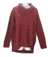 Style & Co Womens Sweater Petite Size PXL Red Maroon Cowl Neck Vented Hem