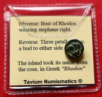 Ancient Greek Coin 304BC Chalkous Rose Rhodes