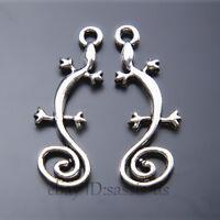 40pcs 29mm Charms Lizard Chameleon Pendant Tibet Silver DIY Jewelry Charm A7429