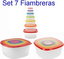 Set 7 Fiambreras Tupper de Plastico transparente,Tapas de Colores,varios tamaños