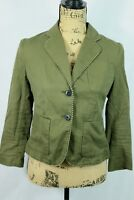 Anthropologie Cartonnier Blazer Size 0 Army Green Cropped Jacket Cotton Linen