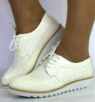 Ladies White Lace Up Smart Old Fashioned Oxfords Brogues Work Shoes Flats Sizes