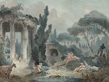 STYLE HUBERT ROBERT SEESAW OLD ART PAINTING POSTER PRINT BB6402A