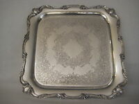 """OLD VINTAGE WILCOX IS SILVER SILVERPLATED  ROCHELLE EPNS SQUARE PLATE, 14 3/4"""""""