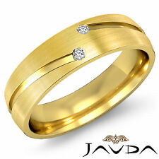 2 Round Bezel Diamond Ring 18k Yellow Gold Half Eternity Wedding Men Band 0.26Ct