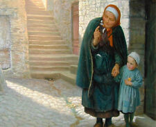 Oil painting Old Neighbour Gone Bye Grandma and grandson free shipping canvas
