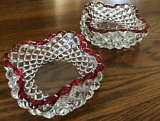 Depression glass-Ruby flash ash trays, set of 2.  Quilted diamond pattern