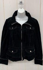 WHBM Blazer 12 Womens Black Corduroy Zip Front Jacket Pockets High Neck