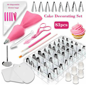 83Pcs Icing Piping Nozzle Cake Baking Tool Set Russian Flower Stainless Steel UK