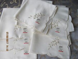 """FORTUNOFF ROSE EMBROIDERY 10 NAPKINS LT. IVORY~20"""" X 20"""" NAPKINS*NEW W/TAGS*RARE"""
