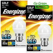 2x Energizer B22 5.9 Watt Golf LED Bulb. 470 Lumens. Equivalent - 40W (Opal)