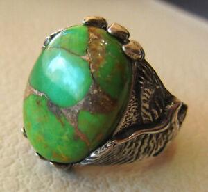 925 Sterling Silver Overlay Green Copper Turquoise Gemstone Biker Boys Mens Ring