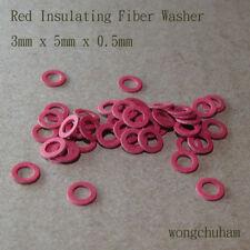 50pcs Red Insulating Fiber Washer (3mm x 5mm x 0.5mm)