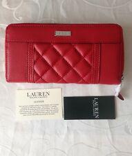 Ralph Lauren Para Mujeres Cuero Rojo Con Cremallera Cartera/Cartera