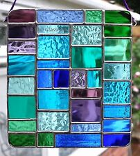 Blue Purple Aqua Green Abstract Panel Stained Glass Art Suncatcher The Glass Sea