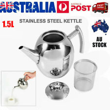 1.5L Stainless Steel Teapot Tea Pot Coffee Kettle With Tea Leaf Filter Infuser