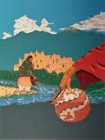 """""""TAOS PUEBLO"""" serigraph by Native American artist Jonathan WarmDay (Taos Pueblo"""
