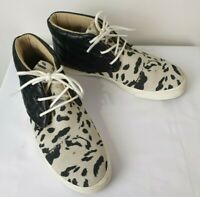 Rusty Leather Leopard Print Casual Ankle Sneakers Shoes / Size 6