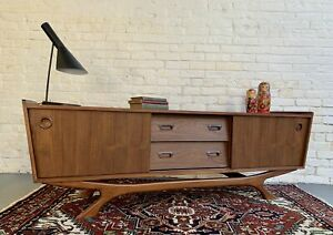LONG + LOW Mid Century MODERN styled CREDENZA / Sideboard / media stand
