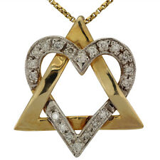 Star Of David Heart Necklace Diamond Necklace 14k White Gold and Yellow Gold