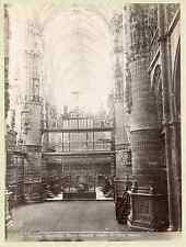 Espagne, Burgos, catedral, nave tomada desde el altar mayor  Vintage albumen pri