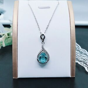 Aquamarine Pendant with 925 Sterling Silver Necklace UK Seller