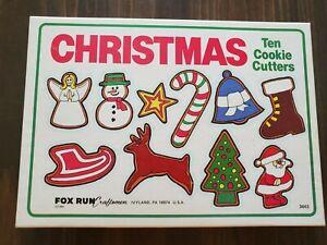 Fox Run Craftsmen Christmas Cookie Cutters Set 10 Vintage in Original Box Tin US