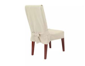 Ivory Farmhouse Basketweave Dining Room Chair Slipcover Relaxed Fit Short