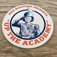 Vintage MAD Magazine Up The Academy Pin Back Button RARE 1980 Warner Bros